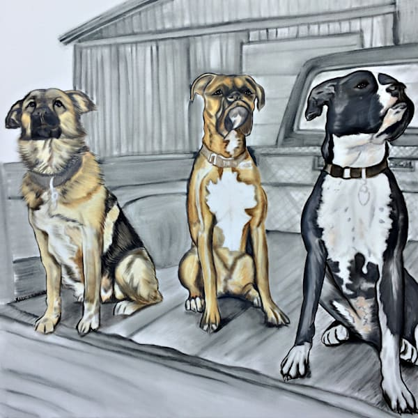 Three Dogs In The Back Of A Pickup, Original, Oil On Canvas Art   Marie Stephens Art