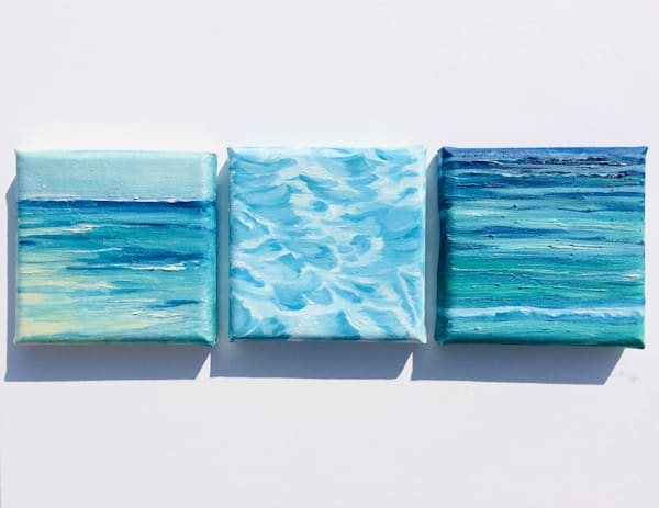 Water Escapes, Set Of Three Original Oils On Canvas Art   Marie Stephens Art