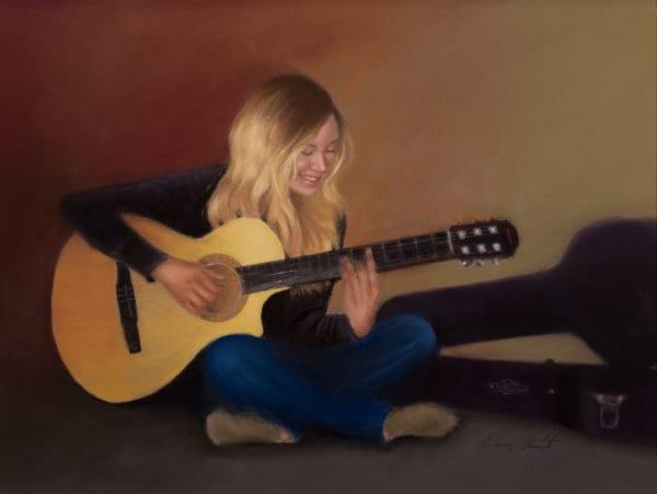 cross legged girl playing guitar, Abigail by Nancy Conant