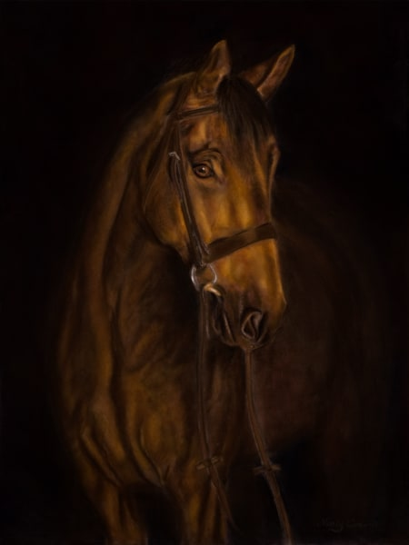 Awaiting Morning's Ride by Nancy Conant is done in a chiaroscuro-painting-style