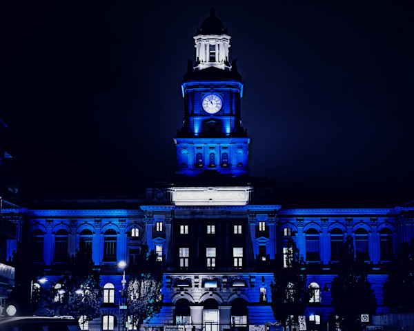 """Polk County Courthouse In Blue 30""""X40"""" Metal Art Print 