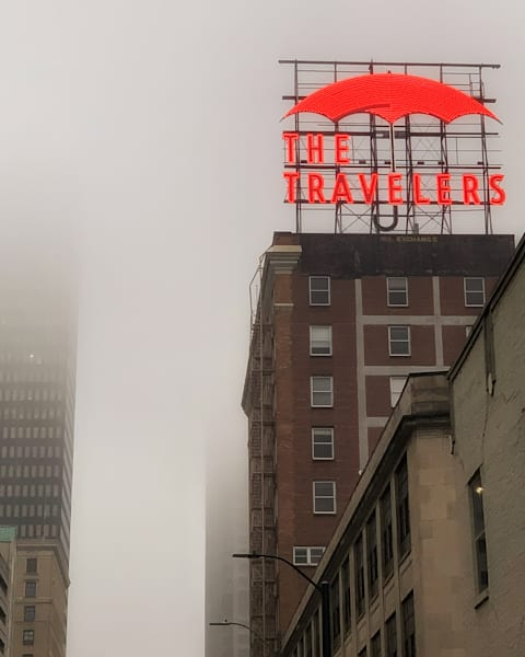 """Travelers In The Fog 25""""X25"""" Embossed Canvas Wood Frame Print 