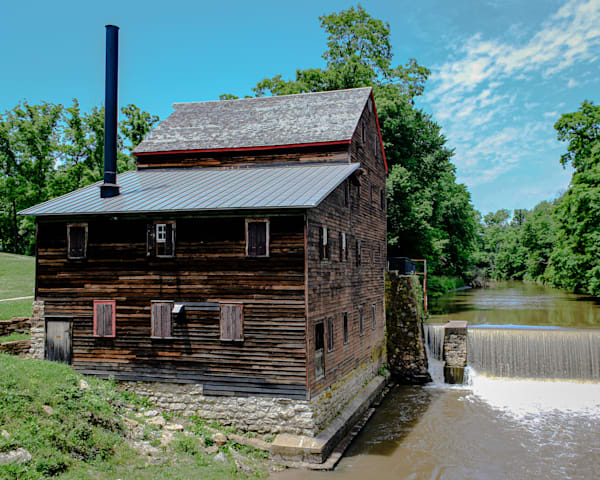 """Stone Mill At Wildcat Den State Park 13""""X13"""" Embossed Canvas Wood Frame Print 
