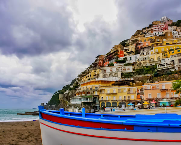 "Amalfi Coast 13""X13"" Embossed Canvas Wood Frame Print | Happy Hogtor Photography"