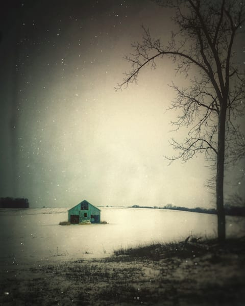 """Blue Barn In Snow #1 22""""X44"""" Embossed Canvas Wood Frame Print 