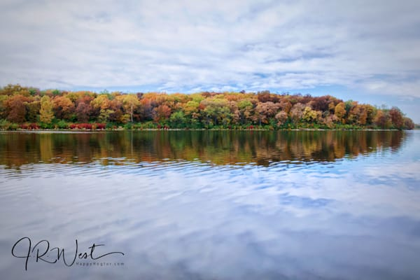 """At The Lake In Autumn 22""""X44"""" Embossed Canvas Wood Frame Print 
