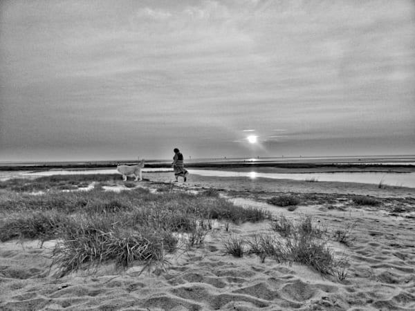 Woman Walking Dog Photography Art   Nick Levitin Photography