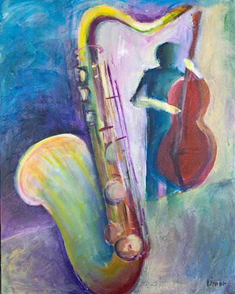 Sax And Bass Original Art | Limor Dekel Fine Art