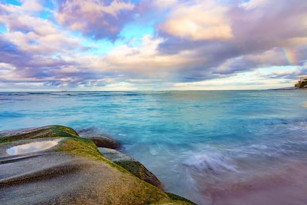 Waikiki Beach Sunrise With Rainbow Fine Art Print Art | McClean Photography