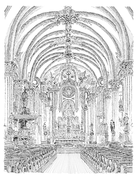 st. mary's assumption church, new orleans:  fine art prints in elegant pen available for purchase online