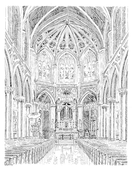 holy name of jesus church, new orleans:  fine art prints in elegant pen available for purchase online