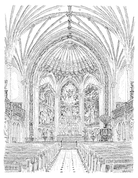 st. patrick's church, new orleans:  fine art prints in elegant pen available for purchase online