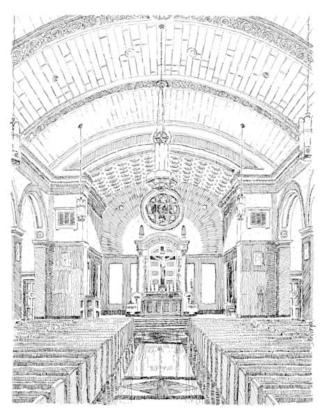 chapel of the north american martyrs, jesuit high school, new orleans:  fine art prints in elegant pen available for purchase online