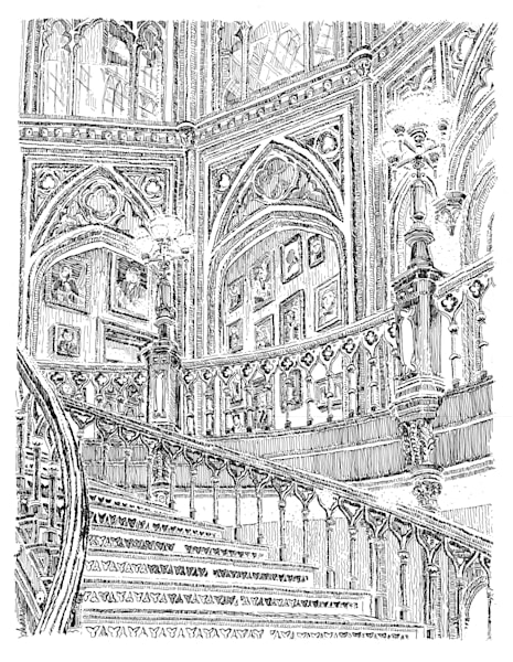 old louisiana state capitol (grand staircase), baton rouge:  fine art prints in elegant pen available for purchase online