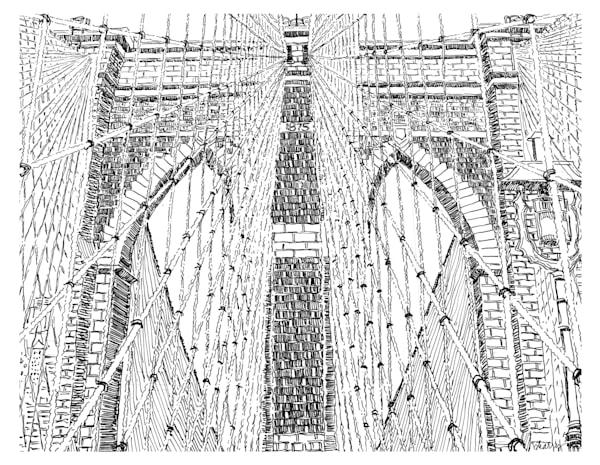 brooklyn bridge, new york city:  fine art prints in elegant pen available for purchase online