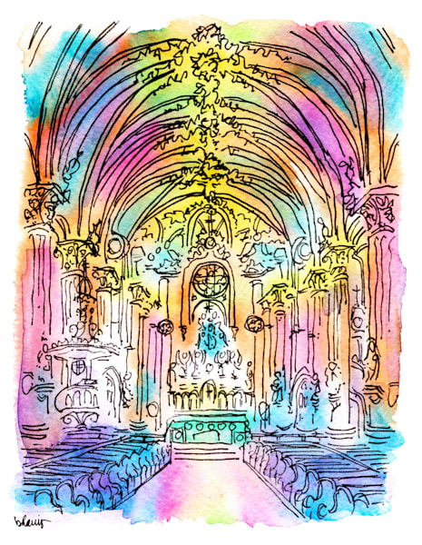 st. mary's assumption church, new orleans:  fine art prints in cheerful watercolor available for purchase online