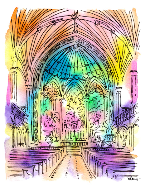 st. patrick's church, new orleans:  fine art prints in cheerful watercolor available for purchase online