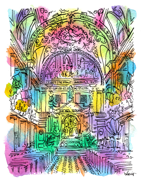 st. louis cathedral (magnificent interior), new orleans:  fine art prints in cheerful watercolor available for purchase online