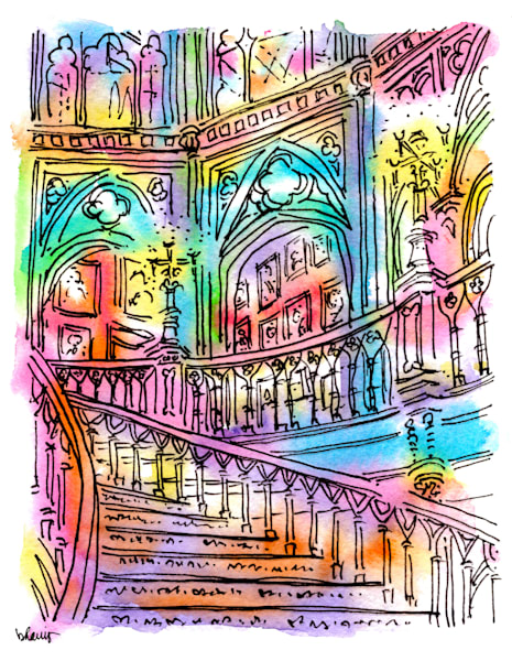 old louisiana state capitol (grand staircase), baton rouge:  fine art prints in cheerful watercolor available for purchase online