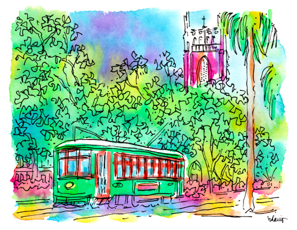 st. charles avenue streetcar, new orleans:  fine art prints in cheerful watercolor available for purchase online