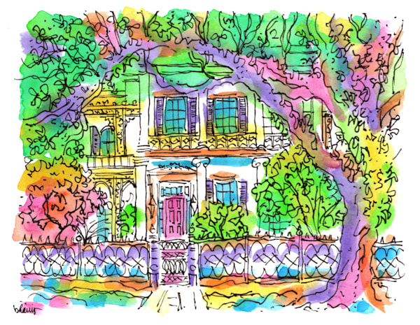"""""""anne rice house,"""" garden district, new orleans:  fine art prints in cheerful watercolor available for purchase online"""