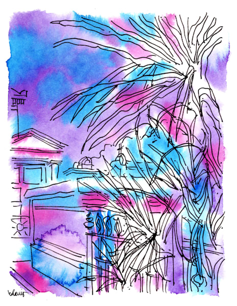 """st. louis cemetery no. 2, claiborne avenue, new orleans (""""after dark"""" collection):  fine art prints in atmospheric watercolor for sale online"""