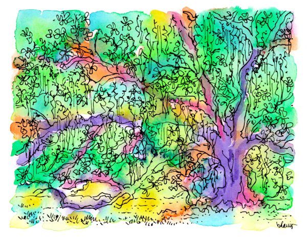 """""""tree of life,"""" audubon park, new orleans:  fine art prints in cheerful watercolor available for purchase online"""