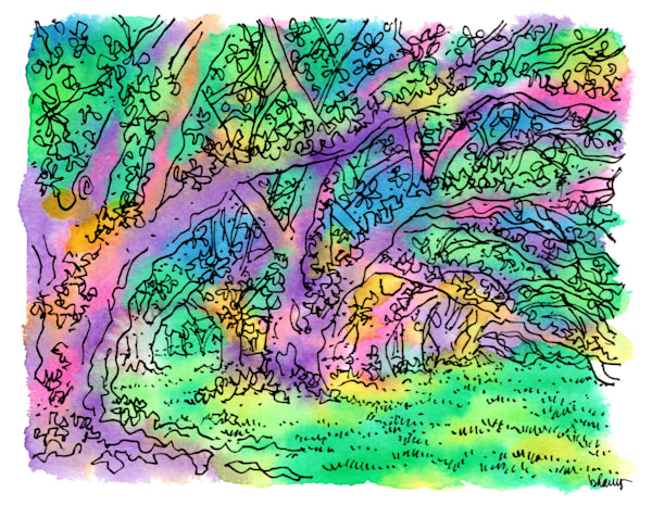 live oaks, oak alley plantation, vacherie, louisiana:  fine art prints in cheerful watercolor available for purchase online