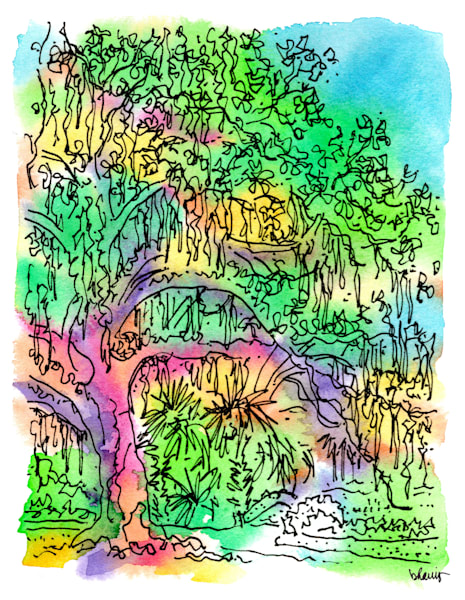 old oak grove (stone bridge), city park, new orleans:  fine art prints in cheerful watercolor available for purchase online