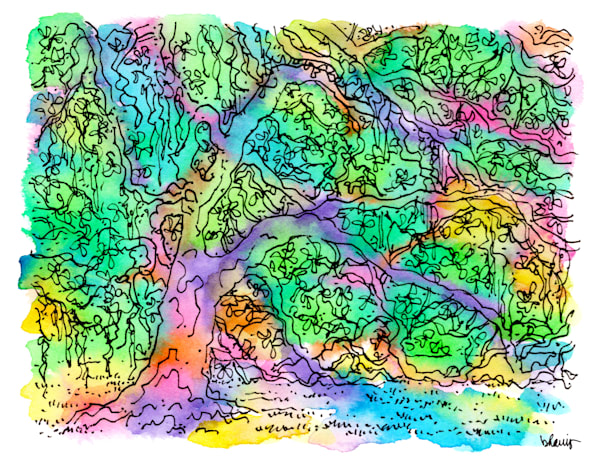 old oak grove (live oak tree), city park, new orleans:  fine art prints in cheerful watercolor available for purchase online