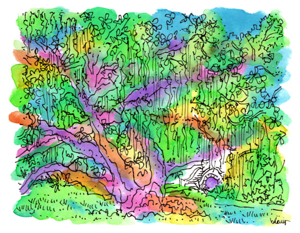 old oak grove (old casino), city park, new orleans:  fine art prints in cheerful watercolor available for purchase online