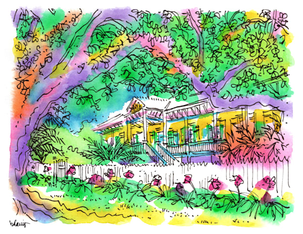 laura plantation, vacherie, louisiana:  fine art prints in cheerful watercolor available for purchase online