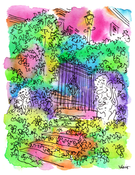 cherokee, natchez, mississippi:  fine art prints in cheerful watercolor available for purchase online