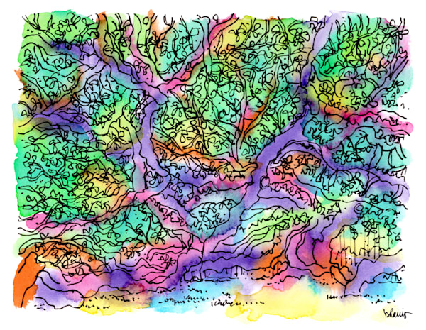 angel oak tree (intricate), johns island, south carolina:  fine art prints in atmospheric watercolor for sale online