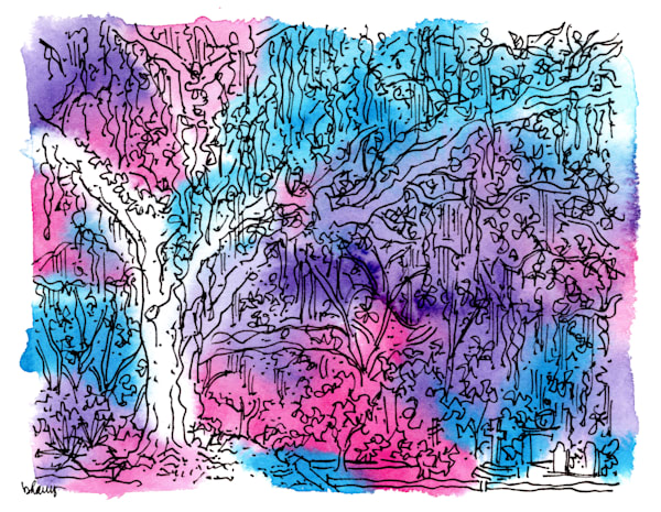"bonaventure cemetery (mossy live oaks), savannah, georgia (""after dark"" collection):  fine art prints in atmospheric watercolor for sale online"