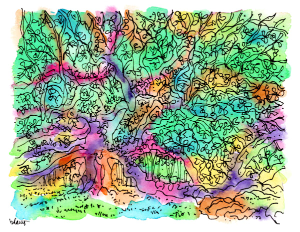angel oak tree, johns island, south carolina:  fine art prints in atmospheric watercolor available for purchase online
