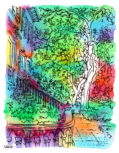 e. jones street, savannah, georgia:  fine art prints in cheerful watercolor available for purchase online
