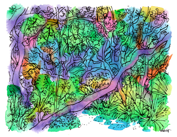 sand live oak grove, grayton beach (30a), florida:  fine art prints in cheerful watercolor available for purchase online
