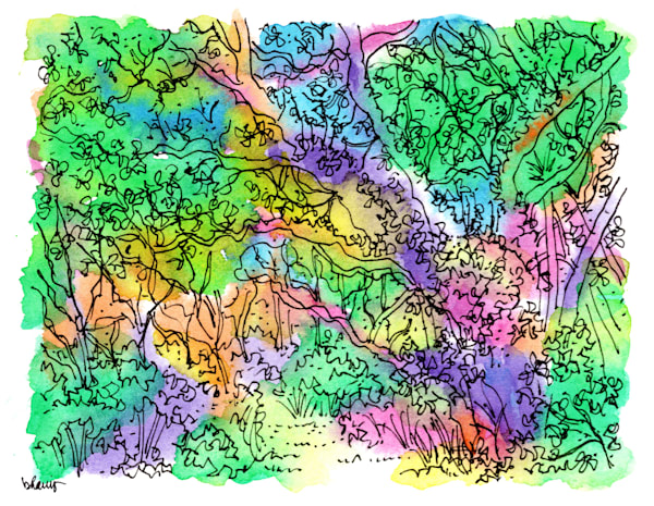 sand live oaks (chaotic order), big talbot island (a1a), florida:  fine art prints in cheerful watercolor available for purchase online