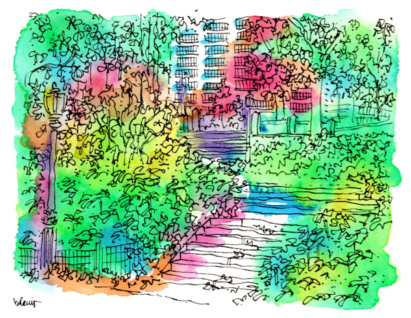 central park (stairs with streetlamp), new york city:  fine art prints in cheerful watercolor available for purchase online