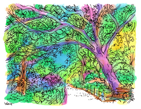 central park (shaded path), new york city:  purchase online fine art prints in cheerful watercolor