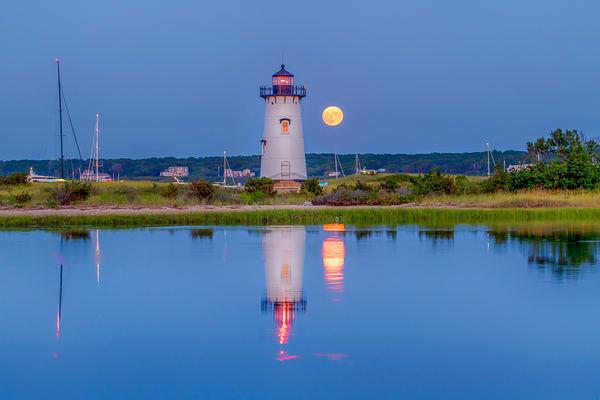 Edgartown Light Summer Moon Refelction Art | Michael Blanchard Inspirational Photography - Crossroads Gallery