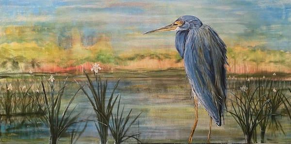 Southern Louisiana Wetland Egret Bird Paintings by New Orleans Artist Sergio Alvarez