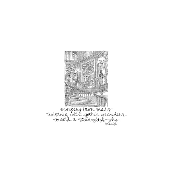 old louisiana state capitol (grand staircase), baton rouge:  tiny haiku art prints in elegant pen available for purchase online