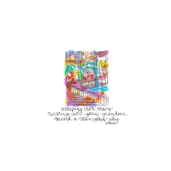 old louisiana state capitol (grand staircase), baton rouge:  tiny haiku art prints in cheerful watercolor available for purchase online