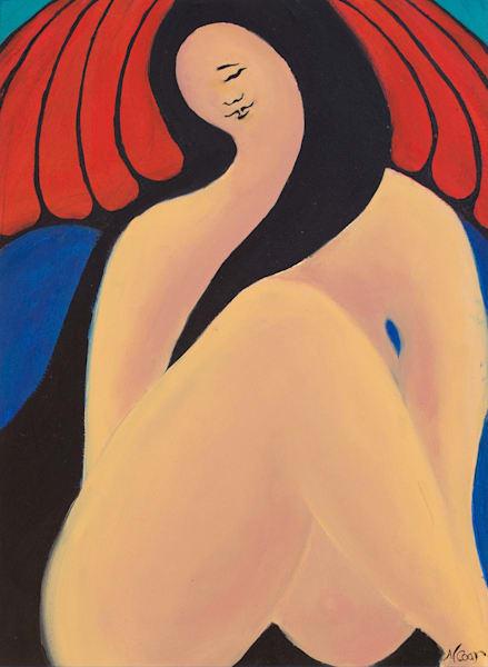Woman With Red Umbrella Ii Art | Norlynne Coar Fine Art