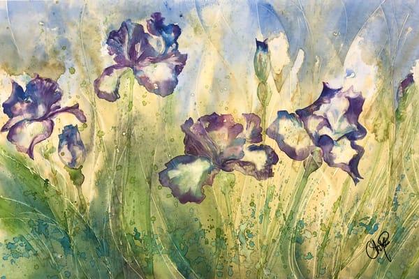 Grandmas Purple Iris Flower field watercolor painting.