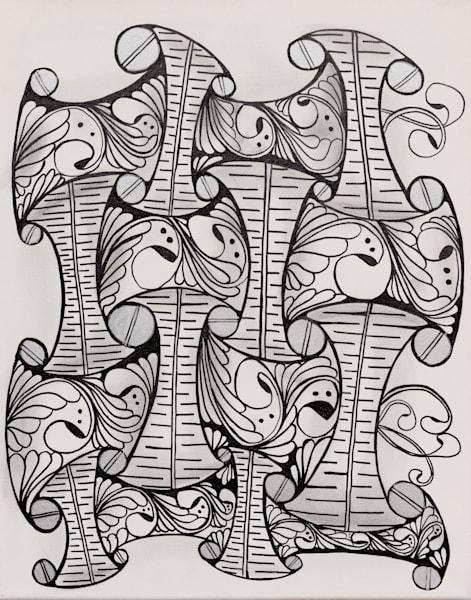 ASquareWatermelon - Art,  Acrylic Zentangle