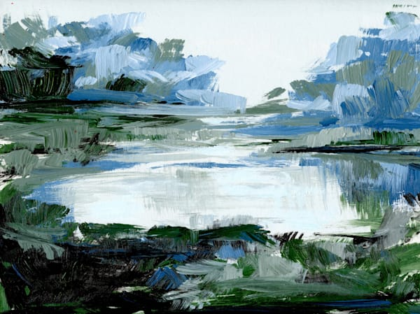 Giclee Print Cold Morning Marsh Landscape in Green and Blue by April Moffatt