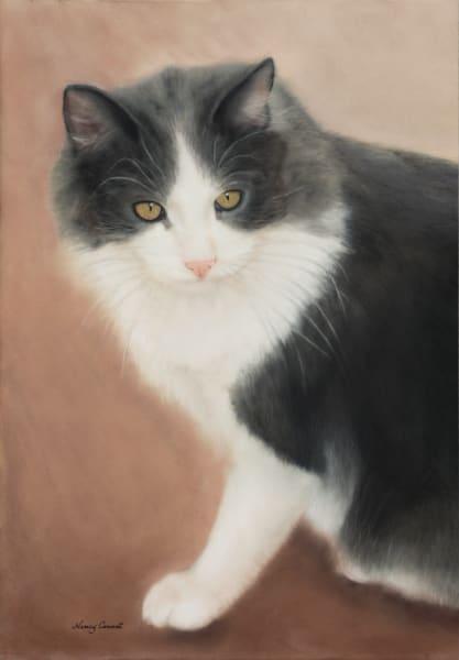 Cat portrait painting Finnegan by Nancy Conant